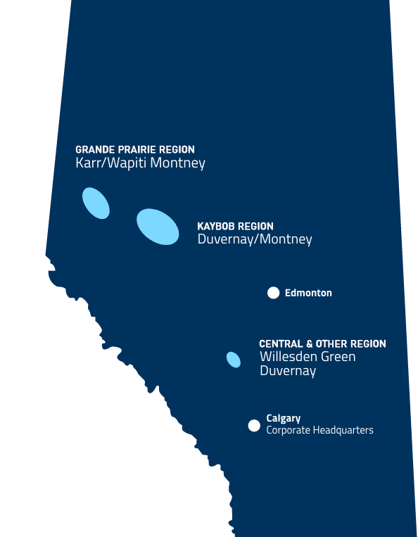 Map of alberta showing the production locations